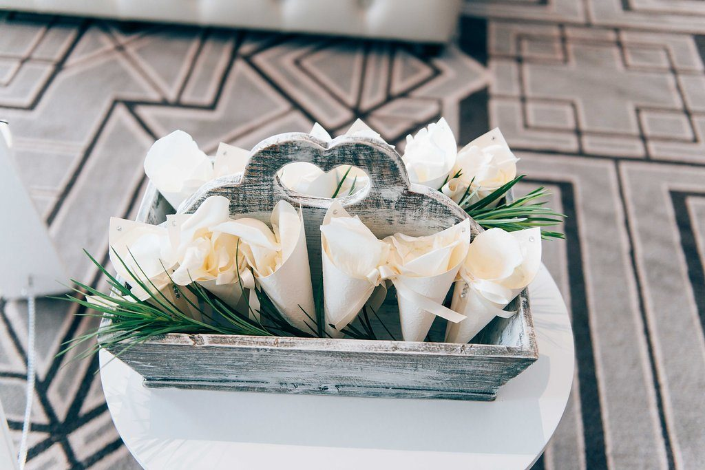 wedding rose petal cones