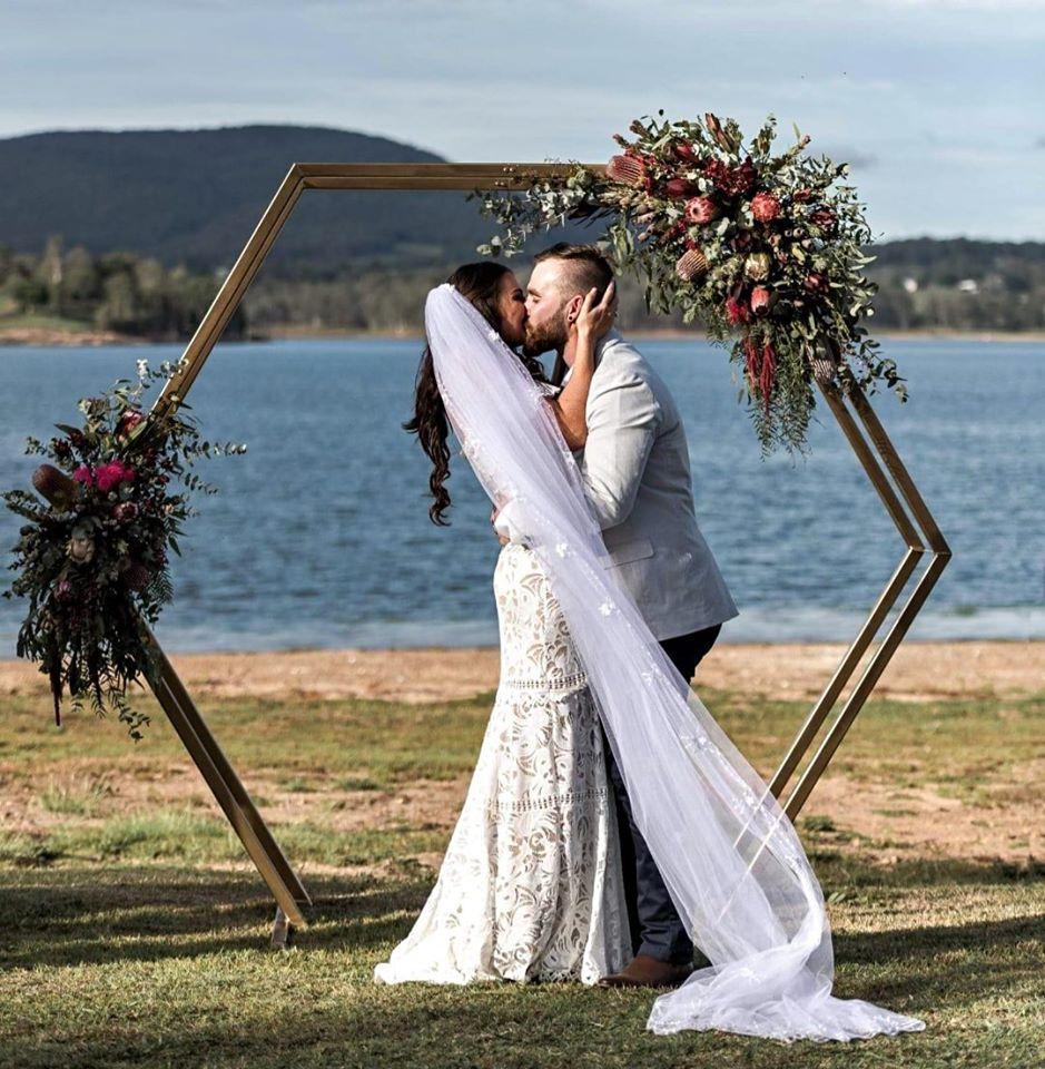 Hexagonal wedding arch Brisbane