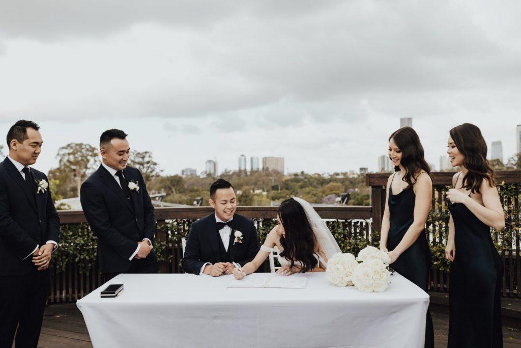 Victoria Park wedding ceremony signing